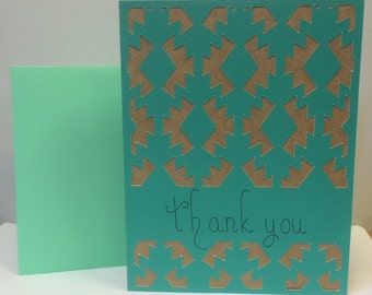 Handmade Thank You card - Teal and Brown