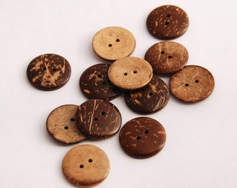 6 Coconut Shell (25 mm) Buttons, (1 Inch), 2 Holes-Natural/Recycled Coconut Shells- Wooden Buttons, Set of 6 (RCO2501)