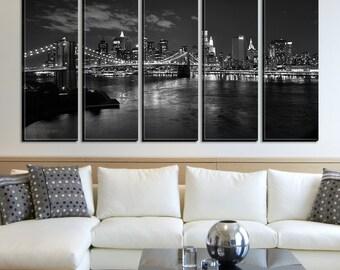 New York City with Bridge in the Dark Night Canvas Art Print No:172