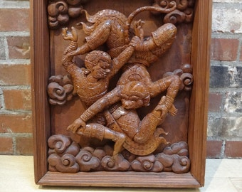 Vintage Thai Wood Carving of the Monkey King and the Sun God