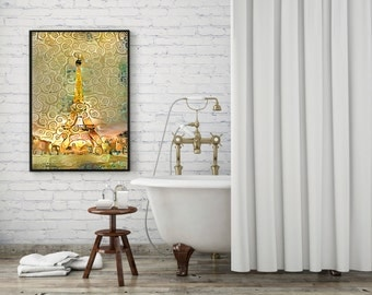 Modern Wall Art Print - Eiffel Tower in Klimt Style – Available in Different Sizes