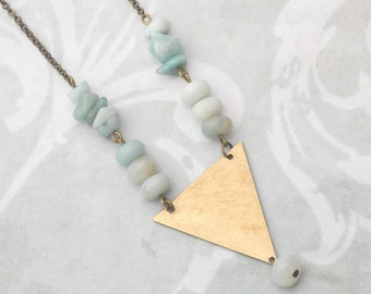 Amazonite and Brass Triangle Necklace