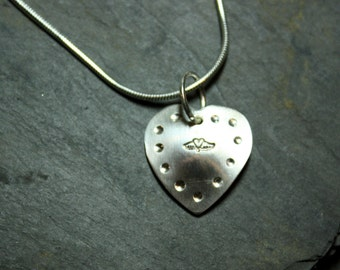 Silver necklace Heart with wings
