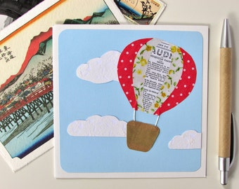 Goodbye Card - Hot Air Balloon Card - Farewell Card - Going Away Card - Travel Card - Leaving Card - Bon Voyage - Good Luck - Graduation