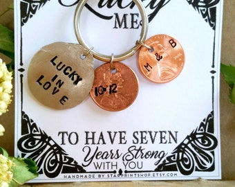 7th Anniversary Penny Keychain, Copper Anniversary, 7th Anniversary Gift, Anniversary Penny, Hand Stamped Penny, Copper Anniversary Gifts