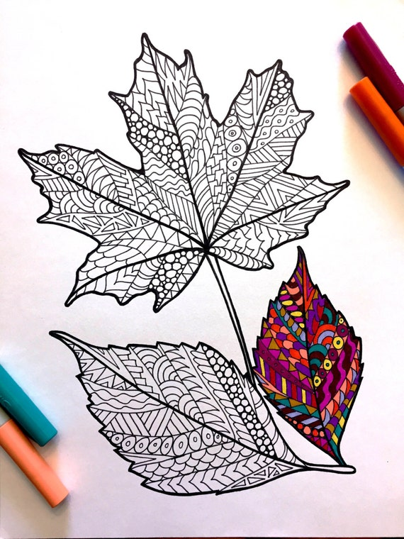 Fall Leaves PDF Zentangle Coloring Page