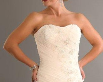 Chiffon and lace wedding Gown with ruffles