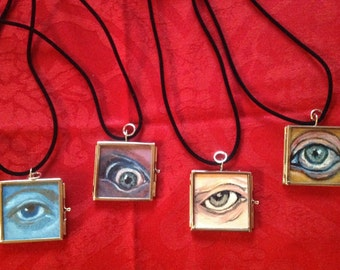 6 hand painted victorian eye lockets