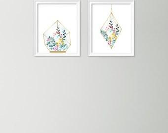 Set of 2 terrarium prints - Floral terrarium art print - Digital botanical artwork - Printable botanical wall art- Terrarium botanical print