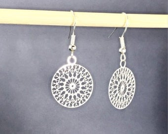 925 Silver Circle Earrings.Mandala Earrings Jewelry.Sacred Geometry.Minimalist.Filigree Earrings.Modern.Simple.Ready to Ship.Gift For Her.
