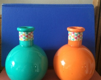 Two Glass Vases, Southwestern Colors, Waterproof, Painted Inside