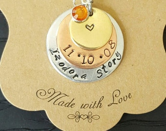 Stack of 3 Hand stamped rounds  ,Hand stamped necklace ,Stamped stacked necklace for Mothers Day or anytime .