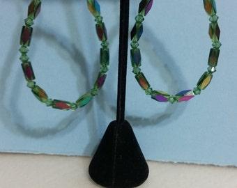 Green Sworvorski Crystals w/ Tube AB Crystals Earrings