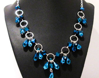 Silver & Blue Metallic Handmade Women's Necklace / Sterling Silver Plated Chain / Vibrant Felicity Necklace