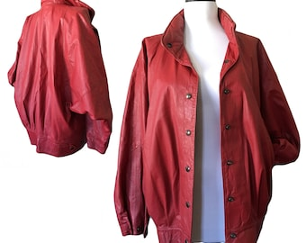 Vintage Slouchy Red Leather Bomber Jacket