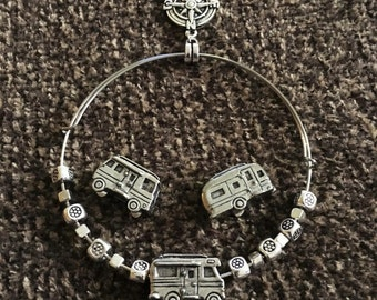 RV Charm Bracelet with Camp Charm, Adjustable, Silver Charm Bracelet, Airstream Charm, Camper Charm, Motorhome Charm, 10001