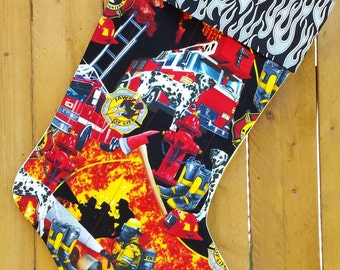 Firemen Quilted Christmas Stocking