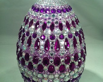 12 in. Tall Rhinestone Encrusted Ceramic Egg / Faberge' Style