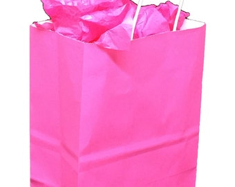 Pack 25 pink handled Kraft paper bag,8x4.5x10.25,Kraft shopping bags with handles,small paper gift bags,pink kraft bag, pink paper bag