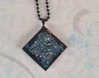 Glitter Necklace, Handmade Resin Pendant