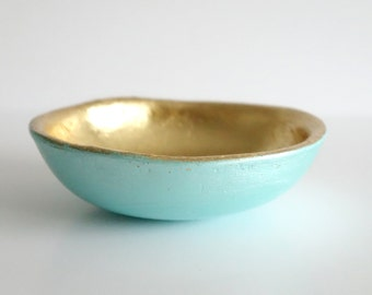 Mint green trinket dish, ring dish, Mint and gold, bridesmaid gift, jewellery dish, gifts for her, wedding gift, wedding present