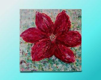 Flower art Original painting Flower of Love Red Abstract art Modern love art palette knife  Red Flower Canvas art Gift woman Sale Artwork