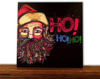Christmas Canvas Art - Christmas Decor - Home Decor - Santa Claus - Tribal Art - Drawing - Markers - Typography