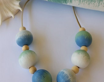 Hand Painted Blue Green White Necklace. free shipping aus