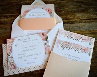 """Deposit for Wedding Invitation Suite - """"Camilla"""" Vintage Floral Frame"""