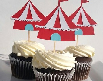 Circus Birthday | Carnival Birthday | Circus Cupcake Toppers | Carnival Cupcake Toppers | Big Top Birthday | Cupcake Toppers