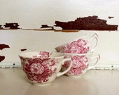 Royal Daulton, Red Transfer Ware, The Kirkwood, Transferware, Vintage Transferware, English Tea Cups, England