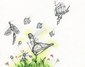 Original pencil and pastel illustration