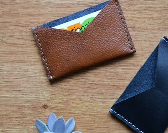 Brown leather card holder / Leather card wallet / Brown leather card sleeve / Genuine leather