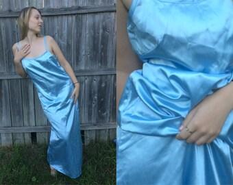 1990s Baby Blue Metallic Silky Satin Angel Goddess Gown Maxi Tank Dress Size M-L