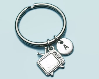 Retro tv charm initial keyring / keychain, television keyring accessory, personalised keychain, initial accessory, gift for her / him, movie