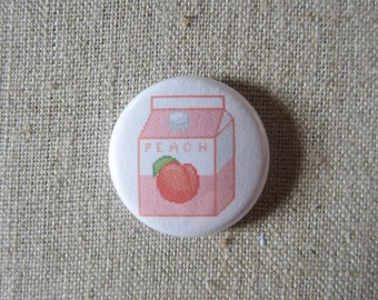 "Peach Milk Carton pin 1"" pinback button"
