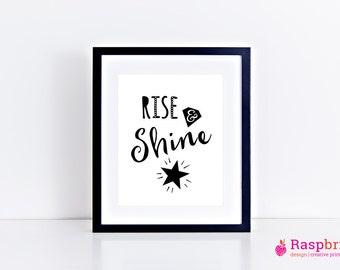 Rise & Shine, digital print, home decor, modern, scandinavian, black, white, simplistic, wall art, bold, poster, inspirational quote, type