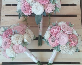 Blush and cream sola flower bouquet