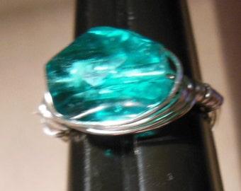 Aquamarine swarovski crstyal hand wrapped ring