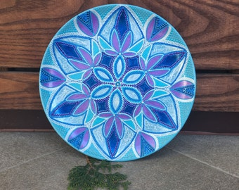 Ceramic Decorative Plate. Home decor. Handmade Hand painted. Gift idea for her. Mandala Turquoise dish. Women Hostess. Blue Violet. Interior