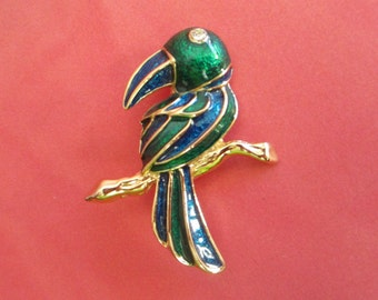 Vintage Enamel Bird, Toucan Pin