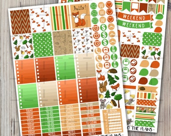 Woodland printable planner stickers Fall Woodland animals green orange fox mouse squirrel hedgehog for use with Erin Condren LifePlannerTM