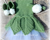 Crocheted Faerie costume, Tinkerbell inspired, Photo Prop, Baby girl clothing set, Halloween costume, infant halloween