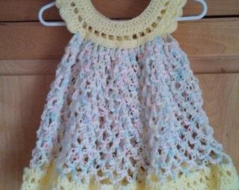 Hand crocheted baby girl dress