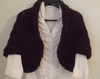 Shrug- crochet thick yarn-claret color- burgundy shrug-handmade crochet shrug