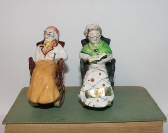 Vintage Grandma and Grandpa Rocking Chair Salt and Pepper Shakers Norcrest Japan