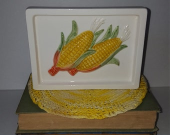 Vintage Takahashi Corn on the Cob Wall Pocket Napkin Holder Made in Japan