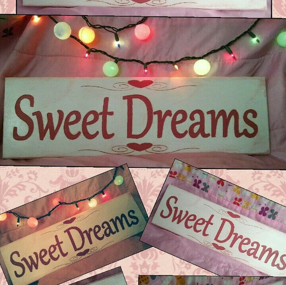 Items similar to sweet dreams sign little girls room decor for Signs for little girl rooms