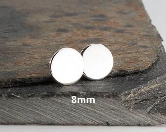8mm Modern Jewelry, Round Disc Studs, Post Earrings, Sterling silver, Stud Earrings, Minimalist Earrings, Handmade