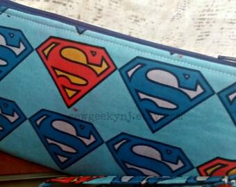 Superman Wristlet - Man of Steel Clutch - DC Comics Zippered Pouch - OOAK - Custom Made